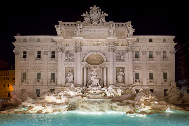 Beautiful view of the Trevi Fountain at night