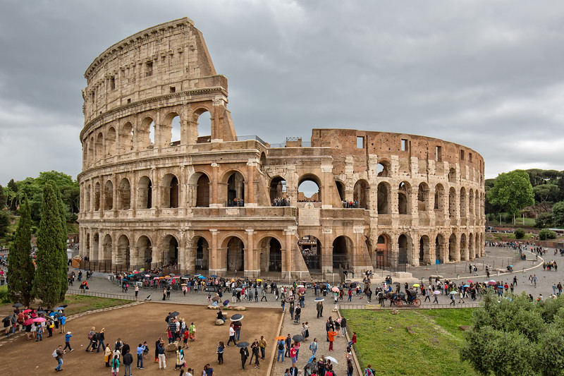 Tourists Visiting the Colosseum (Flavian Amphitheatre)  in Rome