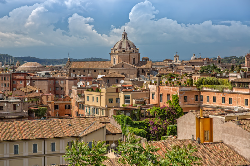 Rooftop view of the city skyline of Rome