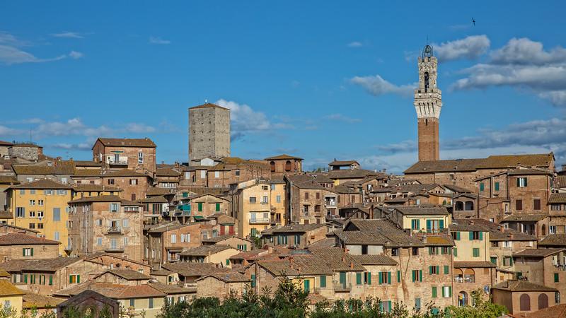 Old houses in historic centre in Siena