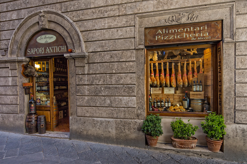 Typical store with local Tuscan produce in Siena