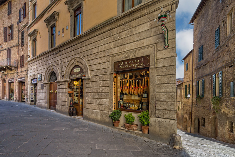 Typical street in historic medieval town Siena