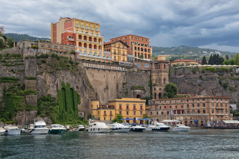 Harbor and cliffs of Sorrento with beautiful old historic buildings