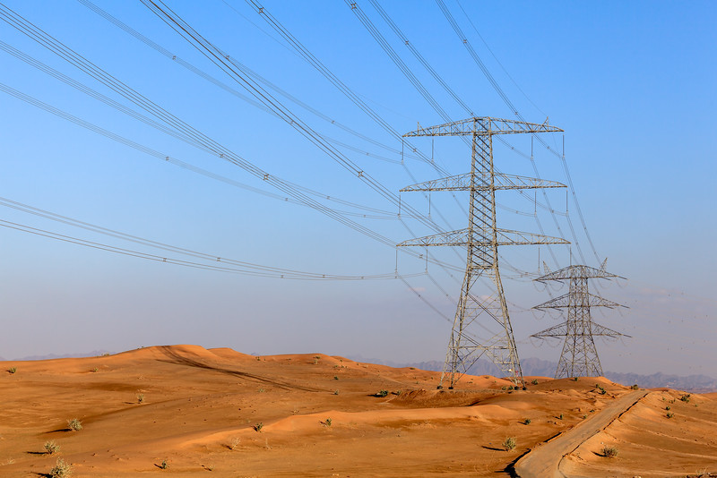 High voltage cables in desert.
