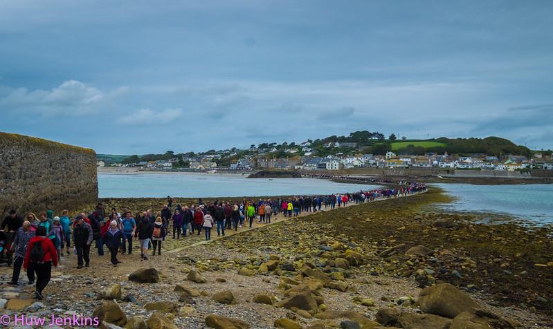 Crowded Causeway at St Micheals Mount. Cornwall. UK