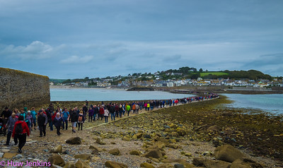 Crowded Causeway at St Micheals Mount. Cornwall. UK