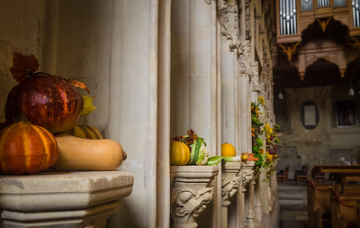 Harvest Festival preparations at Christchurch Priory. Dorset