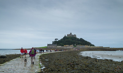 Low tide at the causeway to St Micheals Mount. Cornwall