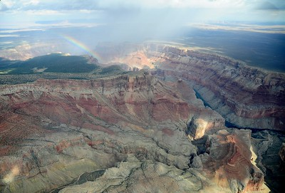 Grand Canyon from the air with a rainbow
