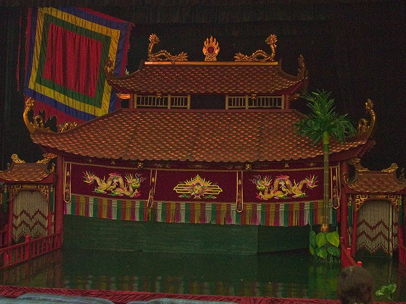 The stage at the Water Puppet theater.