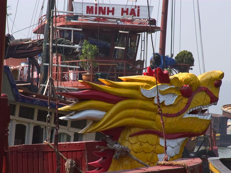 Typical tour boat in Halong Bay.