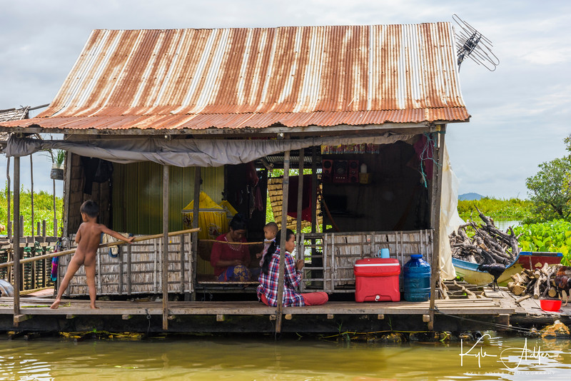 Visiting the floating village of Mechrey on the huge Tonle Sap Lake.