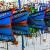 Fishing boats tied up in a harbor along the central coast of Vietnam.