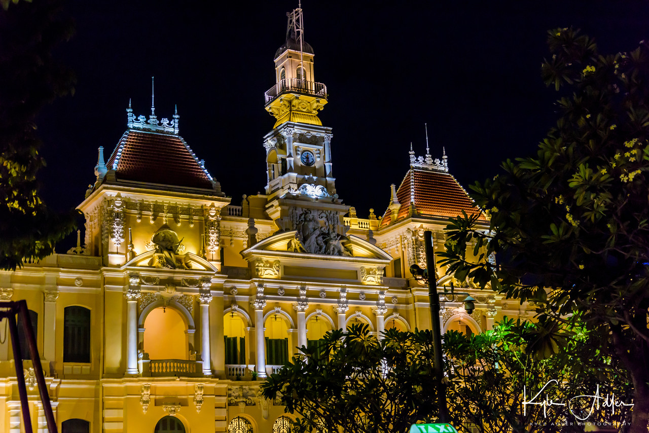 Back in Ho Chi Minh City (Saigon), we took a last stroll for nighttime views of the main sites before flying back to the US.  Here is the Saigon Post Office at night.
