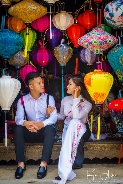 Hoi An is a charming city adorned everywhere with colorful lanterns.  This bride and groom were posing for photos.