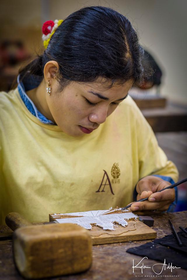 Artisan at the Angkor workshops.