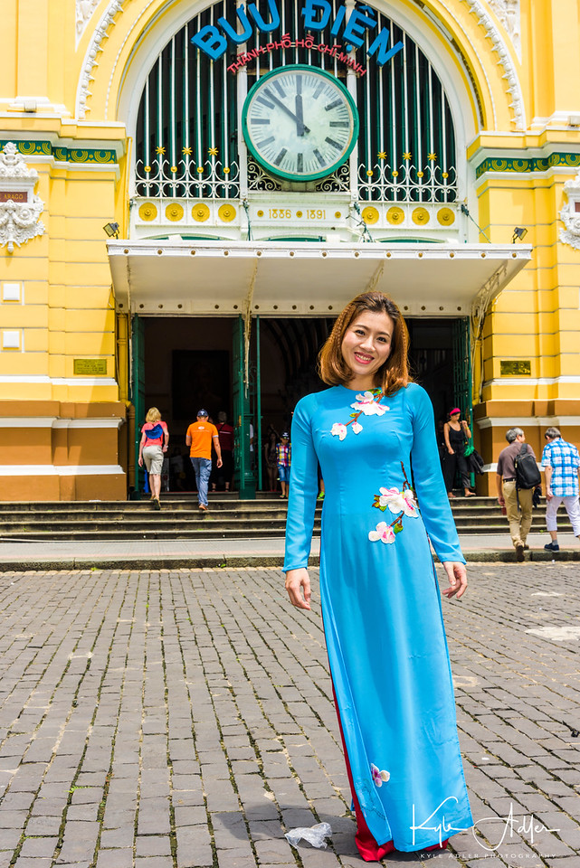 At Saigon's Post Office, I asked this lovely young woman to model the traditional Vietnamese costume, the ao dai.