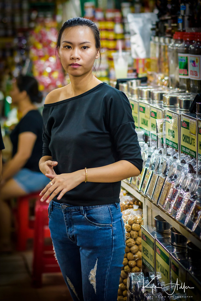 A stall-keeper at Saigon's bustling central market.