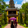 Approaching the Thien Mu Pagoda in Hue.
