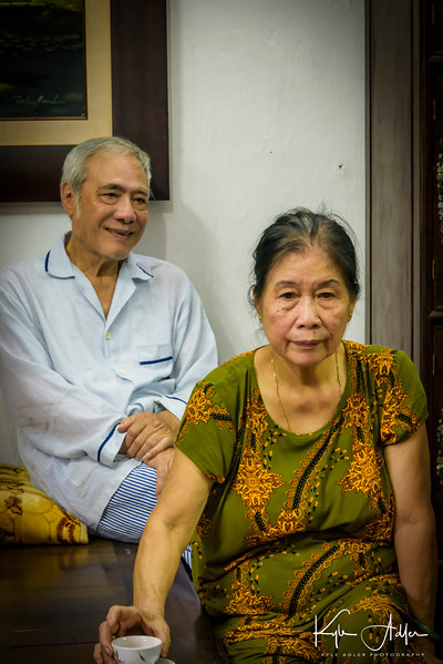 """In the village, we visited the home of Mr. Duc and his wife.  After the war, their homes were seized and they were persecuted as """"landlord oppressors"""" even though they had never exploited others.  They recovered one of their houses decades later."""