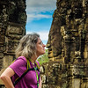Mary going nose-to-nose with giant Buddha carving at Bayon Temple.  Photo idea was suggested by Vu Thy.
