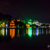 A late-night stroll along Hanoi's Hoan Kiem Lake.