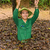 Our guide demonstrates a well concealed entrance to the Cu Chi Tunnels.