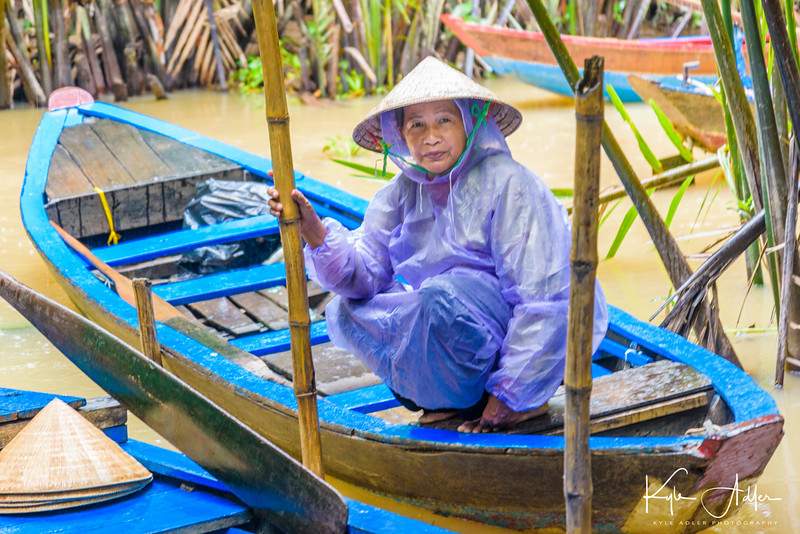 Preparing to board our sampan on the Mekong Delta.