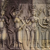 Apsara dancers carved on Angkor Wat.