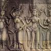 Apsara dancers carved on Angkor Wat.