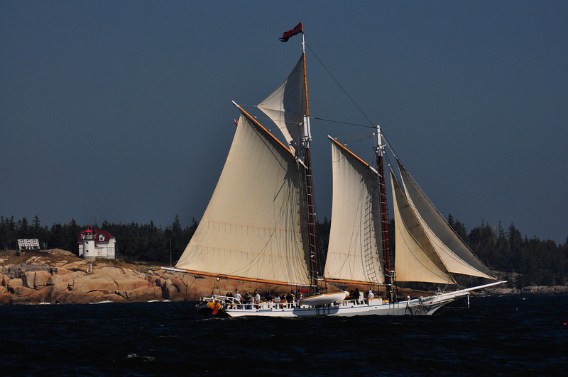 6727 - Schooner Isaac Evans, windjamming;  penobscot bay lighthouse; rockland; maine