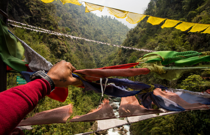 Prayer flags in Sikkim, India.