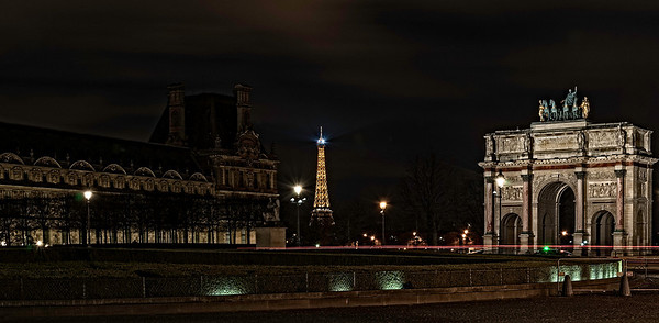 Denon Wing Eiffel Tower and the Carrousel Arch Paris France