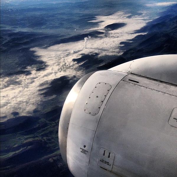 Engine and smokestack; mountains or sea? #upintheair