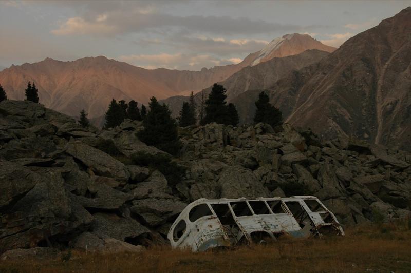 Deserted Bus at Tian Shan Observatory - Almaty, Kazakhstan