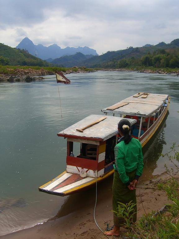 Woman Looking at the Boat - Luang Prabang, Laos