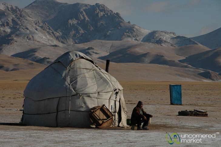 Kyrgyz Man Drinks Tea Outside Yurt - Song Kul Lake, Kyrgyzstan