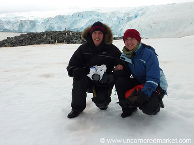 Dan and Audrey With the Penguins - Prospect Point, Antarctica