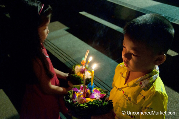 Brother and Sister Moment - Loi Krathong Festival, Bangkok