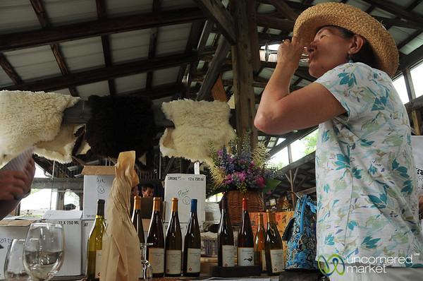 Wine Tasting at Ithaca's Farmer's Market - New York