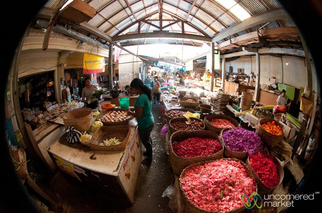 Fisheye View Inside a Balinese Market