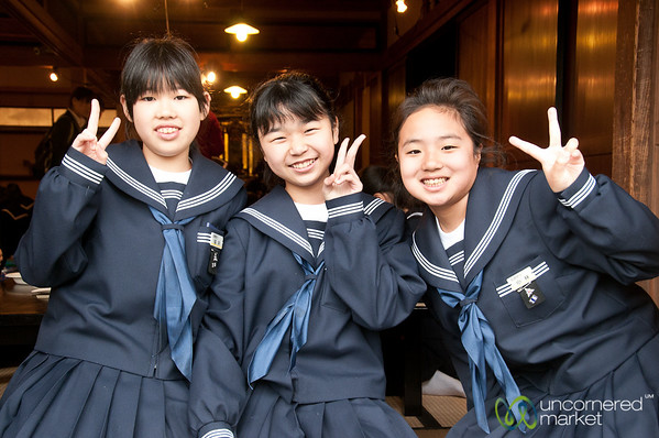 Japanese School Girls in Takayama, Japan