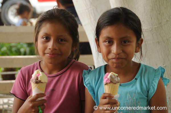 Happy Girls With Ice Cream - Juayua, El Salvador
