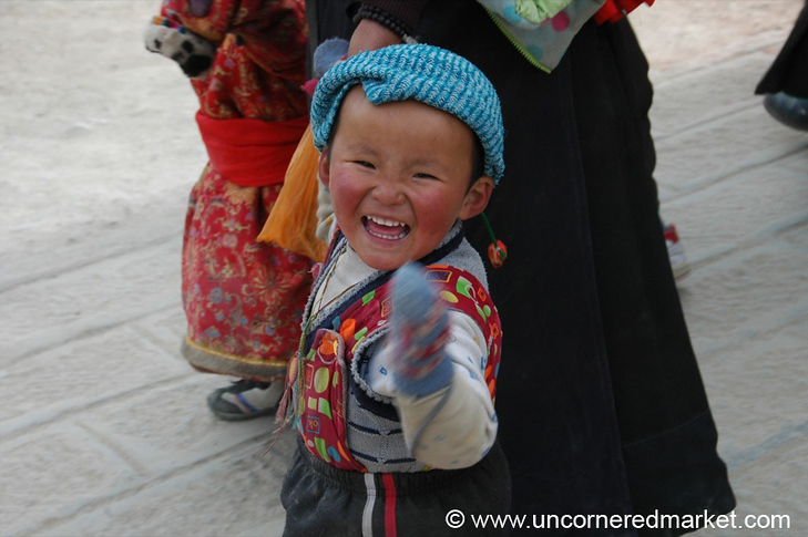 Excited Little Tibetan Boy - Xiahe, China