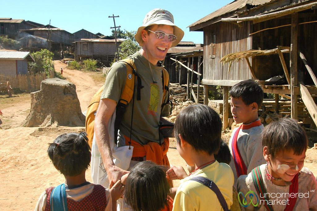 School Kids with a Tourist - Kalaw, Burma