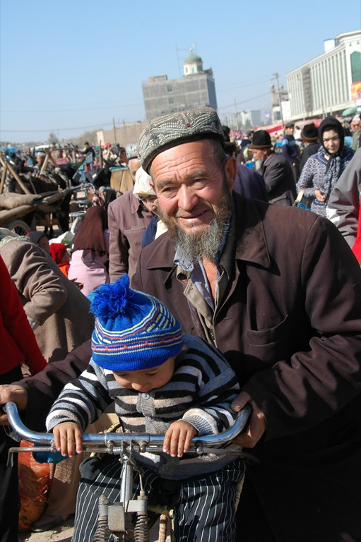 Uighur Grandfatherly Love - Kashgar, China