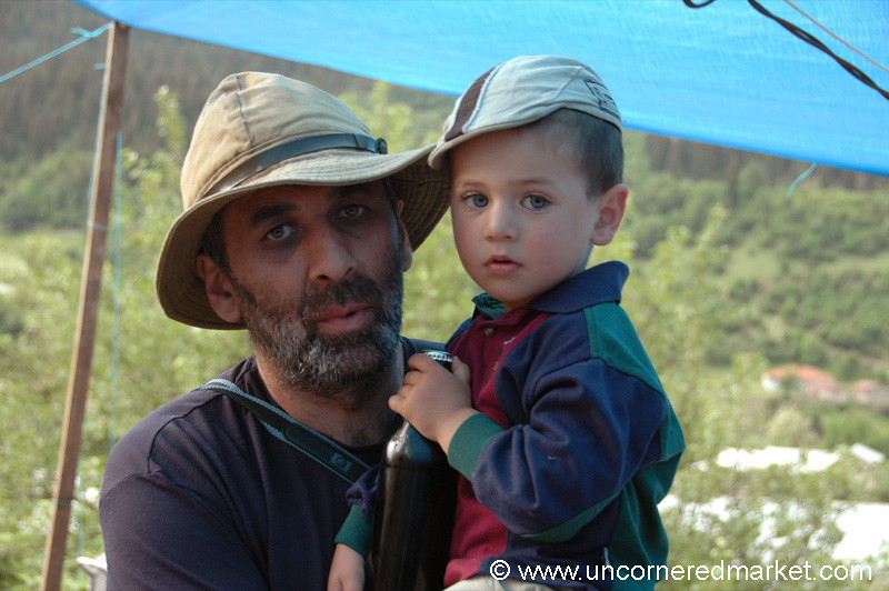 Father and Son in Hats - Svaneti, Georgia