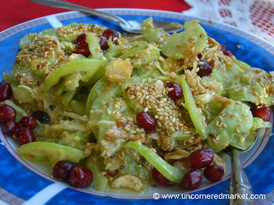 Burmese Food, Green Tomato and Peanut Salad - Mandalay, Burma