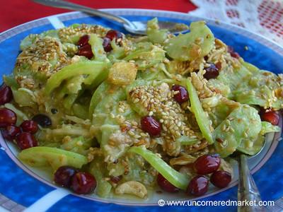 Burmese Food, Green Tomato and Peanut Salad - Mandalay, Burma