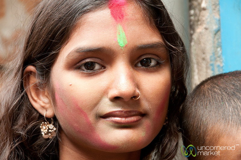 Colorful Face During Holi Celebrations - Old Dhaka, Bangladesh